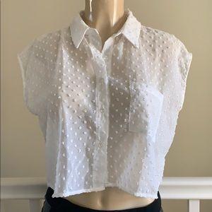 Lily white white sheer blouse size XS